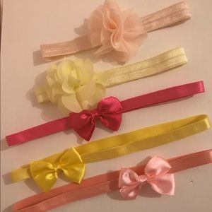 Set of 5 infant stretchy headbands pastels
